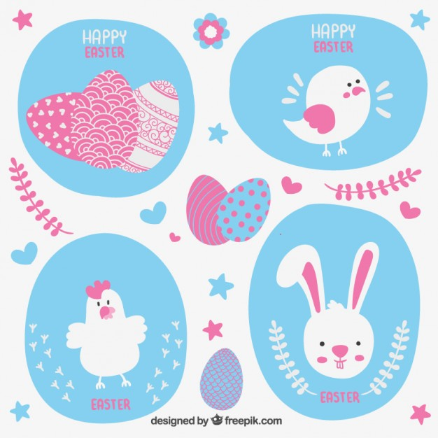 Easter Card with Cute Animals Free Vector