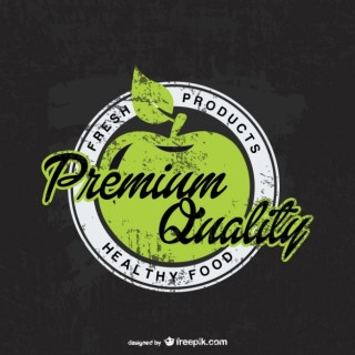 Eco Organic Apple Badge Free Vector