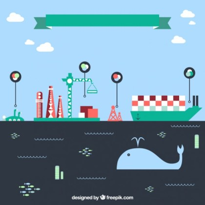 Ecology and Industrial Infographic Free Vector