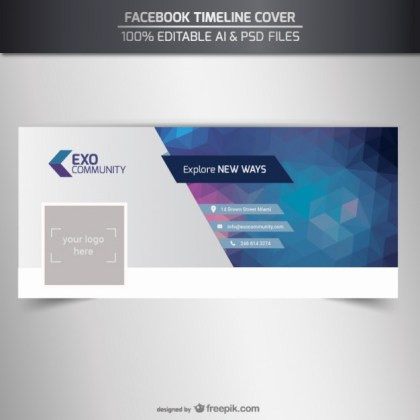 Editable Timeline Cover Template Free Vector