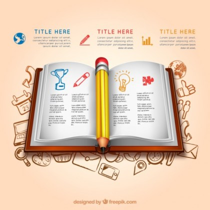 Education Infographic with An Open Book Free Vector
