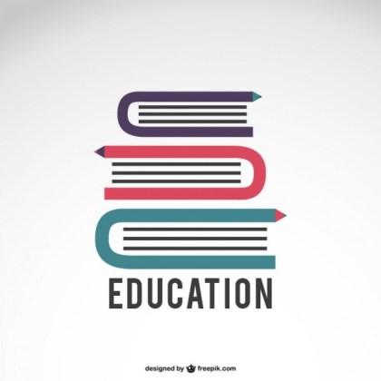 Education Logo with Books Free Vector