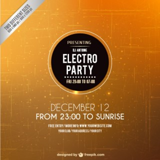 Electro Party Flyer Free Vector
