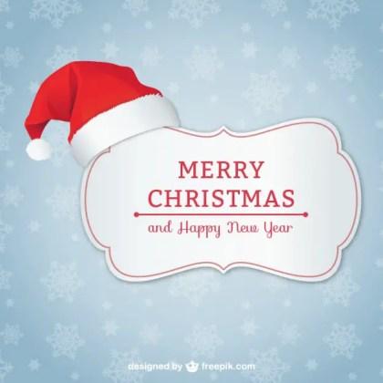 Elegant Christmas Card with Santa Hat Free Vector