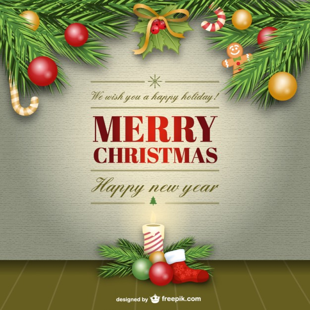 Elegant Merry Christmas Card Free Vector
