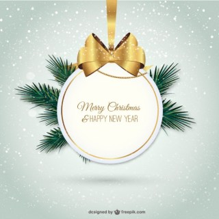 Elegant Merry Christmas Label Free Vector