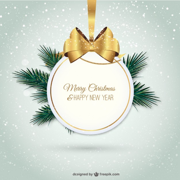 Elegant Merry Christmas Label Free Vector