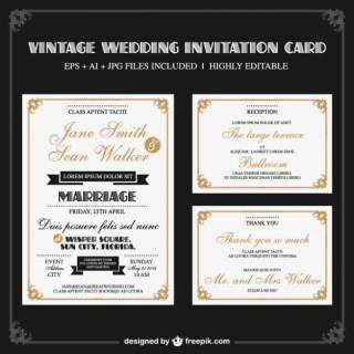 Elegant Retro Wedding Set Free Vector
