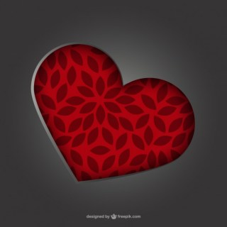 Embossed Floral Heart Free Vector