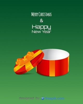 Empty Circular Giftbox with Letters Merry Christmas and Happy New Year Free Vector