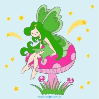 Fairy on Mushroom Free Vector
