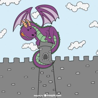 Fairy Tales Dragon and Castle Free Vector