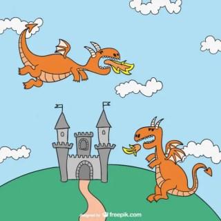Fairy Tales Dragons Cartoon Free Vector