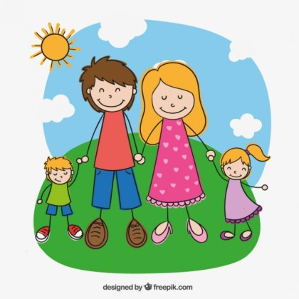 Family in Hand Drawn Style Free Vector