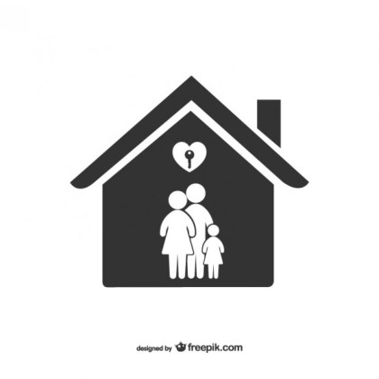 Family in The House Free Vector
