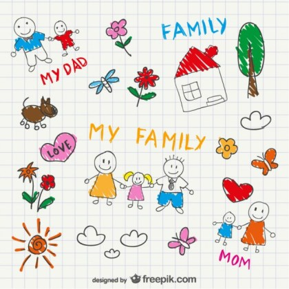 Family Sketch Drawing Free Vector