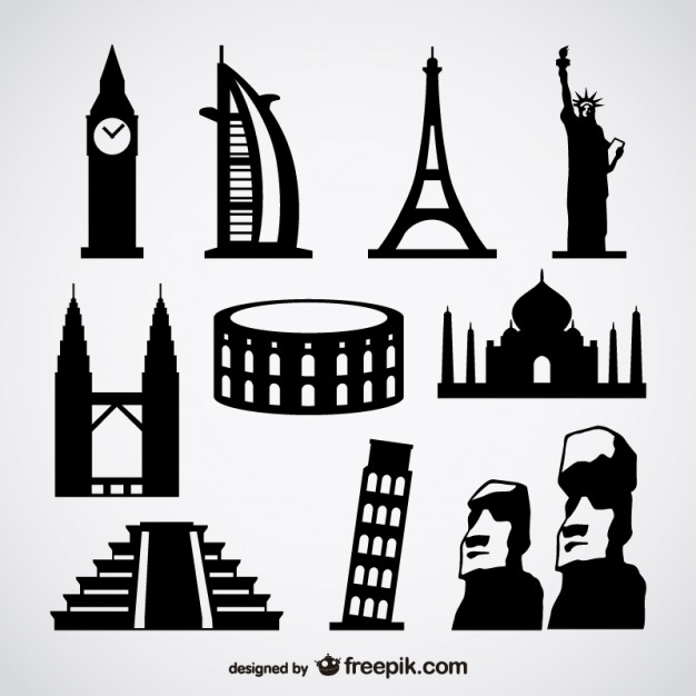 Famous Foreign Buildings Free Vector