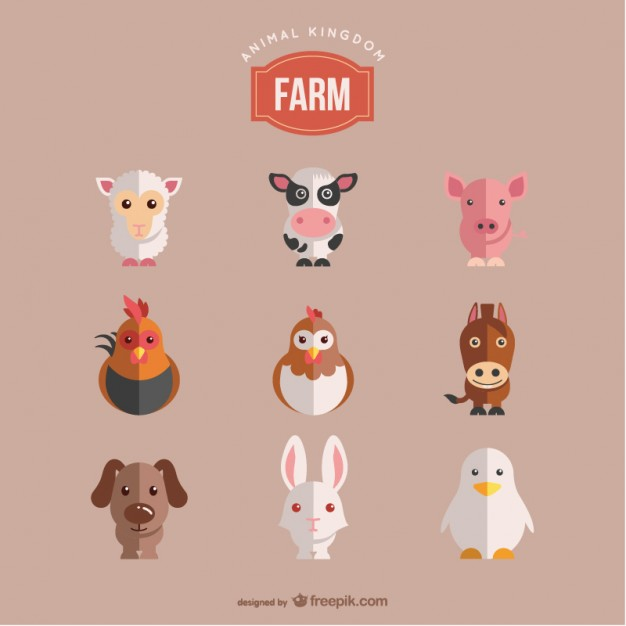 Farm Animals Set Free Vector