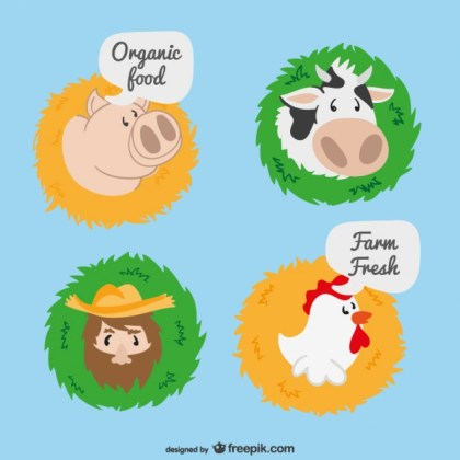 Farm Cartoon Labels Free Vector