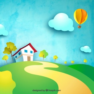 Farmhouse in The Hill Free Vector