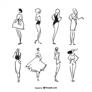 Fashion Sketches Free Vector