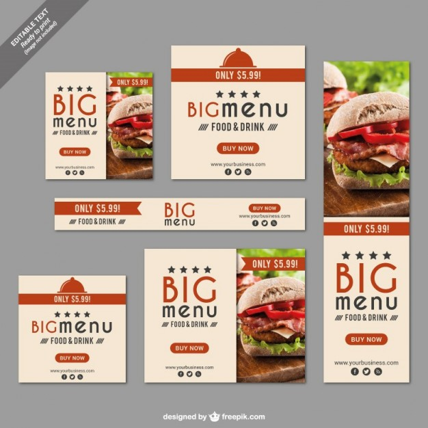 Fast Food Restaurant Banner Set Free Vector
