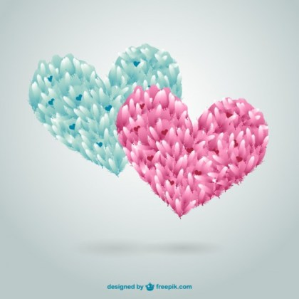 Feather Hearts Free Vector