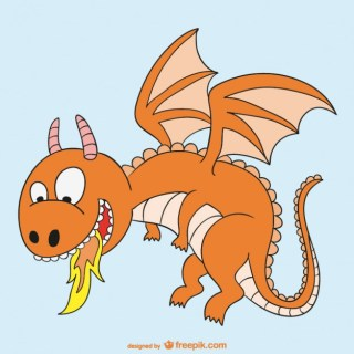Fire Dragon Cartoon Free Vector