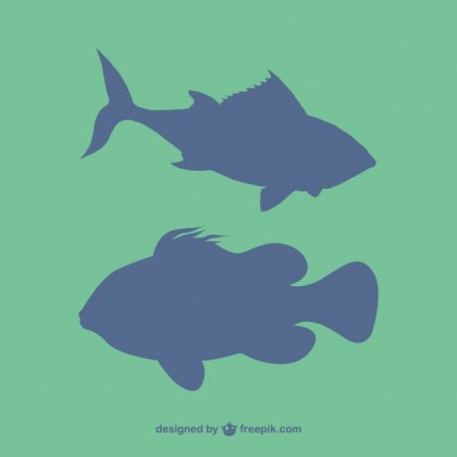 Fish Silhouettes Free Vector