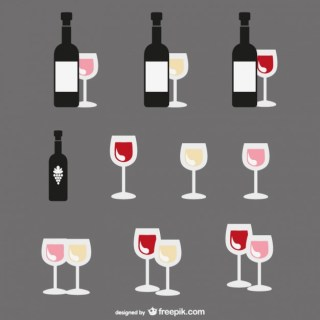 Flat Design of Wine Bottles and Glasses Free Vector