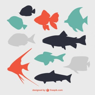Flat Fish Silhouettes Free Vector