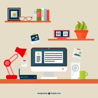 Flat Illustration Office Space Free Vector