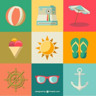 Flat Summer Icons Free Vector