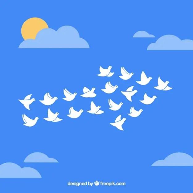 Flock of Birds in Arrow Shape Free Vector