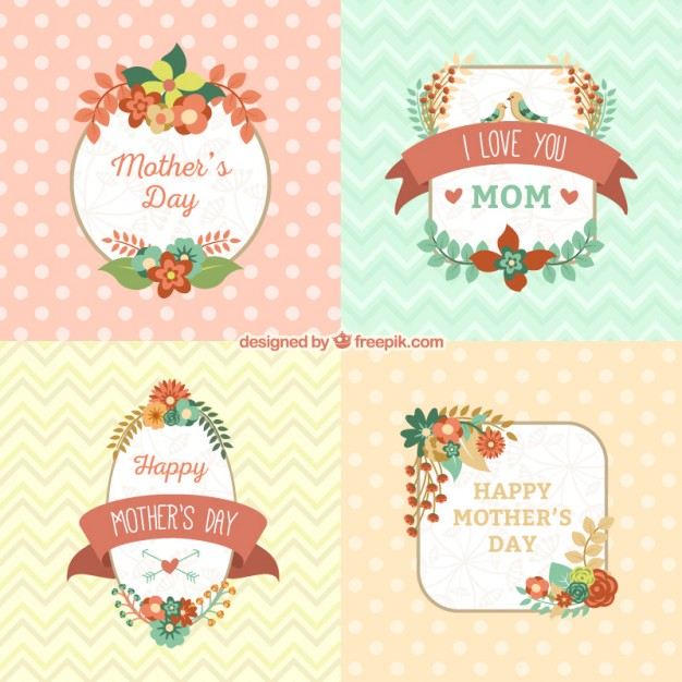 Floral Cards for Mothers Day Free Vector