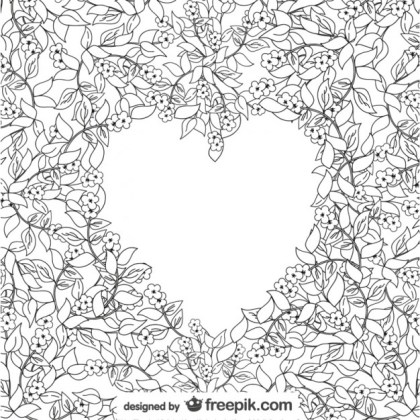Floral Drawing Heart Free Vector