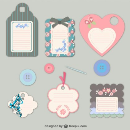 Floral Fashion Tags Free Vector
