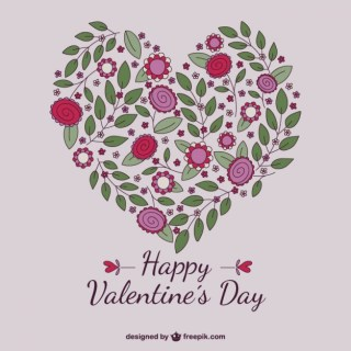 Floral Valentine Heart Free Vector