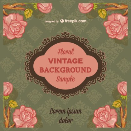 Floral Vintage Background with Text Free Vector