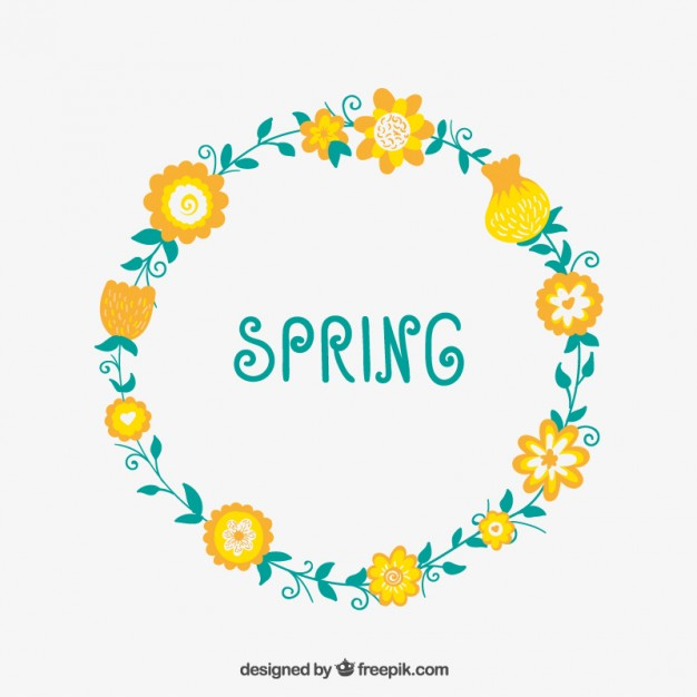 Floral Wreath for Spring Free Vector