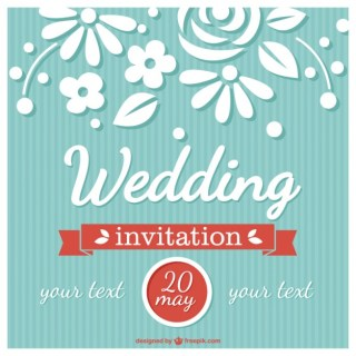 Flower Wedding Card Retro Style Free Vector