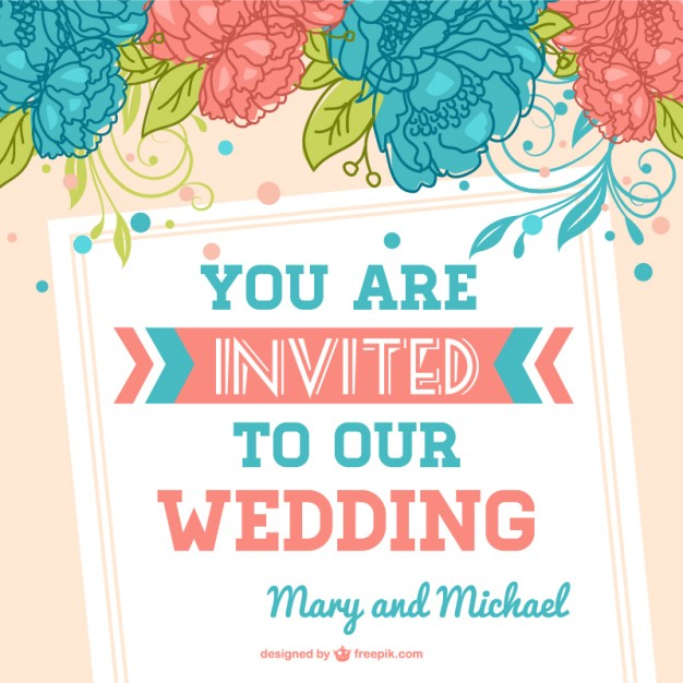Flowers Wedding Template Free Vector