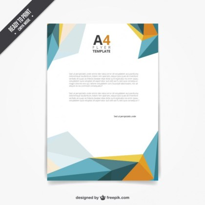 Flyer Template in Polygonal Style Free Vector
