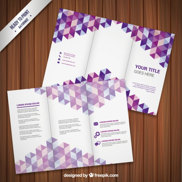 Flyer Template with Purple Triangles Free Vector