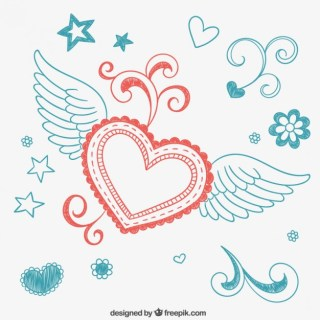 Flying Heart Doodle and Ornaments Free Vector