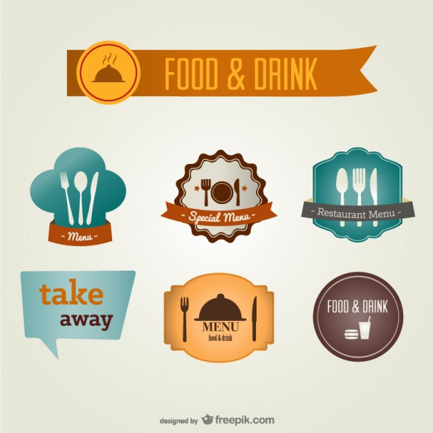 Food and Drink Labels Free Vector
