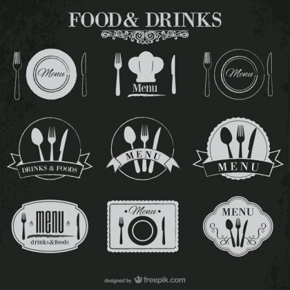 Food and Drinks Stickers Free Vector