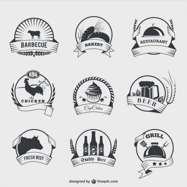 Food Badges in Retro Style Free Vector