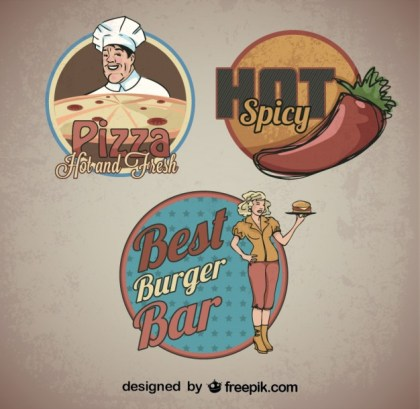 Food Sticker Retro Logo Templates Free Vector