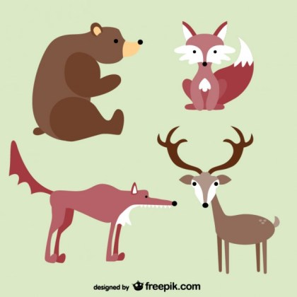Forest Animals Cartoons Free Vector